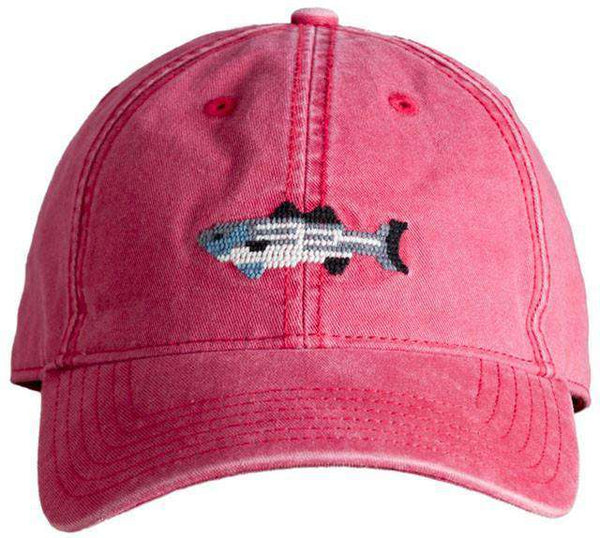 Red Hat with Needlepoint Striped Bass by Harding-Lane