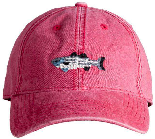 Hats/Visors - Red Hat With Needlepoint Striped Bass By Harding-Lane