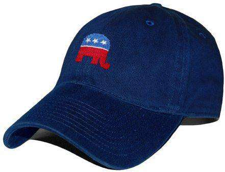 Hats/Visors - Republican Needlepoint Hat In Navy By Smathers & Branson