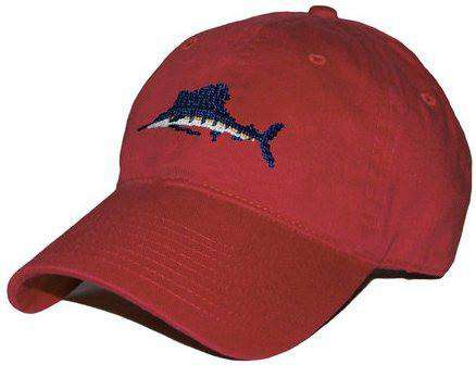 Hats/Visors - Sailfish Needlepoint Hat In Rust By Smathers & Branson