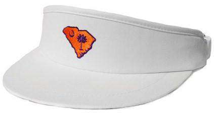 Hats/Visors - SC Clemson Gameday Golf Visor In White By State Traditions