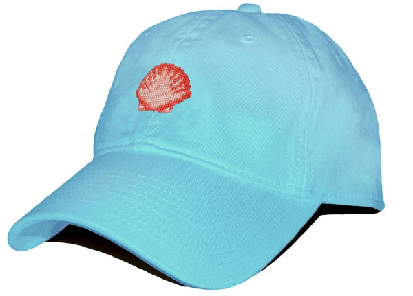 Hats/Visors - Scallop Shell Needlepoint Hat In Glacier Blue By Smathers & Branson