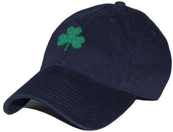 Hats/Visors - Shamrock Needlepoint Hat In Navy By Smathers & Branson