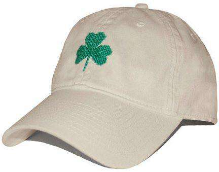 Hats/Visors - Shamrock Needlepoint Hat In Stone By Smathers & Branson