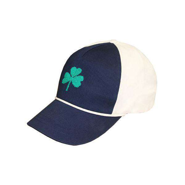 Shamrock Needlepoint Rope Snapback Hat in Navy and White by Smathers & Branson