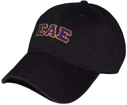 Sigma Alpha Epsilon Needlepoint Hat in Black by Smathers & Branson
