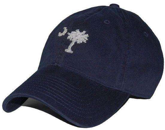 Hats/Visors - South Carolina Needlepoint Hat In Navy By Smathers & Branson