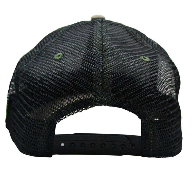 Stars & Waves Trucker Hat in Surplus Green & Black by Waters Bluff - FINAL SALE