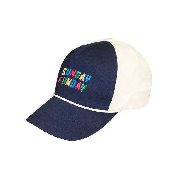 Sunday Funday Needlepoint Rope Snapback Hat in Navy and White by Smathers & Branson