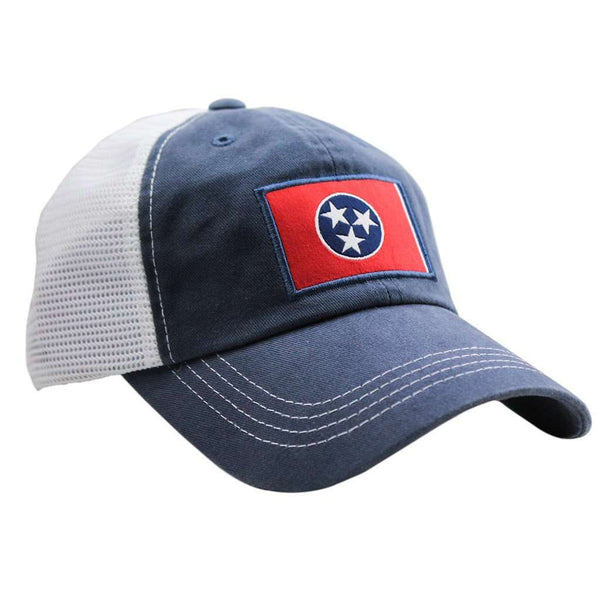 Hats/Visors - Tennessee Flag Trucker Hat In Navy By State Traditions
