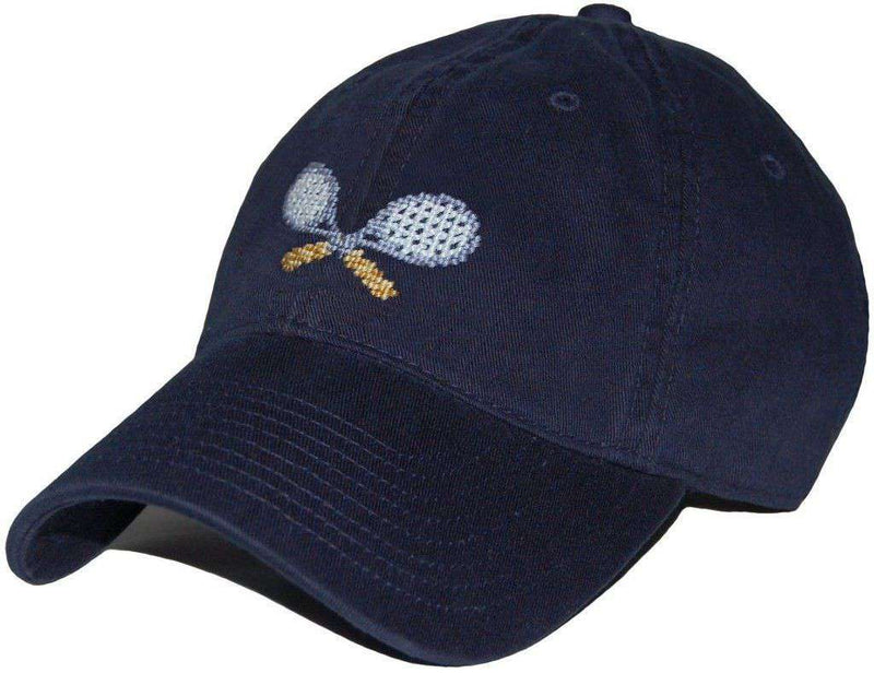 Tennis Racquets Needlepoint Hat in Navy by Smathers & Branson