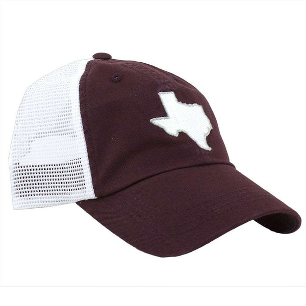 Hats/Visors - Texas College Station Gameday Trucker Hat In Maroon By State Traditions