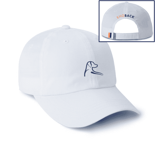 The Breezy Hat in White with Blue and Orange by Rhoback