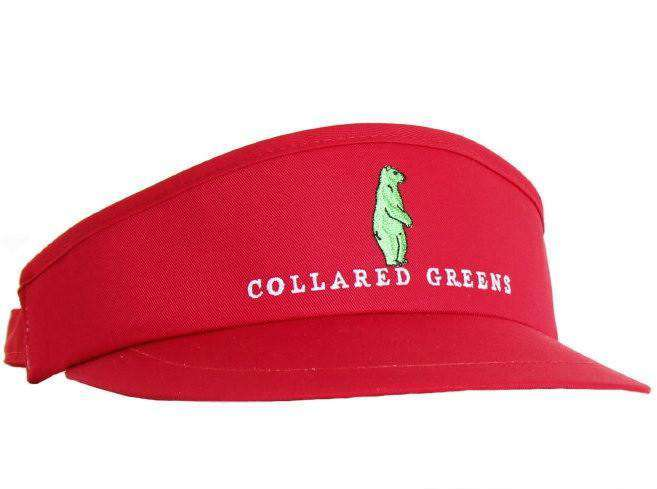 Hats/Visors - Tour Golf Visor In Red By Collared Greens