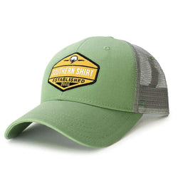 Trademark Badge Mesh Back Trucker Hat in Grasshopper and Steel by The Southern Shirt Co.