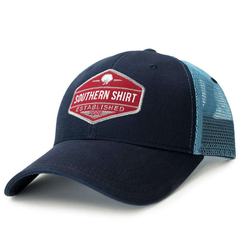 Trademark Badge Mesh Back Trucker Hat in Twilight and Carolina Blue by The Southern Shirt Co.