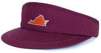 VA Blacksburg Gameday Golf Visor in Maroon by State Traditions - Country Club Prep