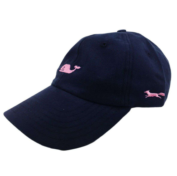 ef3083b4c8c Hats Visors - Whale Logo Baseball Hat In Blue Blazer W  Pink Longshanks By