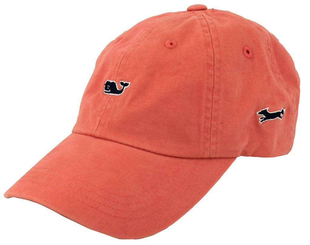 b797bb7c Vineyard Vines Whale Logo Baseball Hat in Coral – Country Club Prep