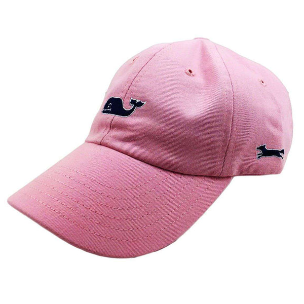 Hats/Visors - Whale Logo Baseball Hat In Flamingo Pink W/ Navy Longshanks By Vineyard Vines