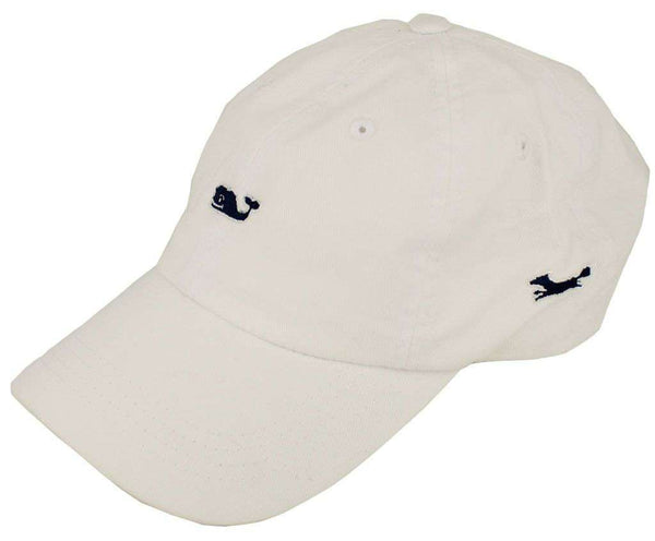 Whale Logo Baseball Hat in White by Vineyard Vines, Also Featuring Longshanks the Fox - Country Club Prep
