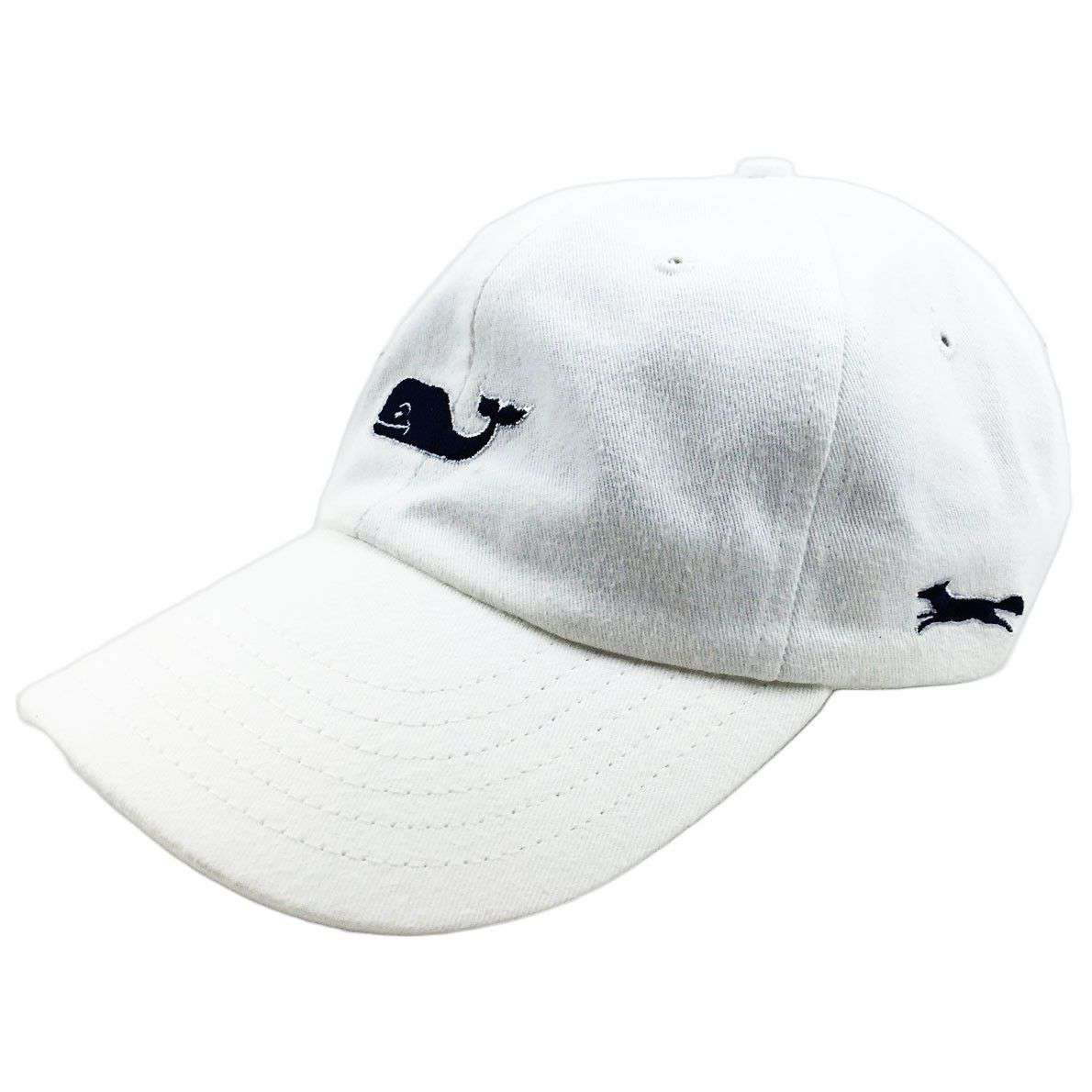 5e4ca0608 Whale Logo Baseball Hat in White w/ Navy Longshanks by Vineyard Vines