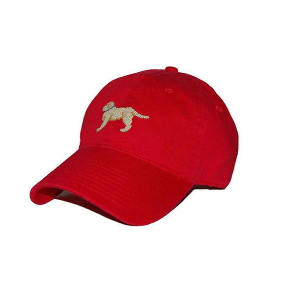 Hats/Visors - Yellow Lab Needlepoint Hat In Red By Smathers & Branson