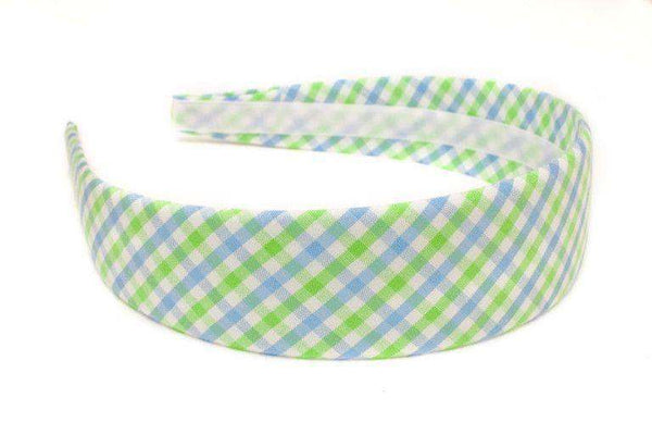 Cornflower & Mint Green Tattersall Headband in Green and Blue by High Cotton