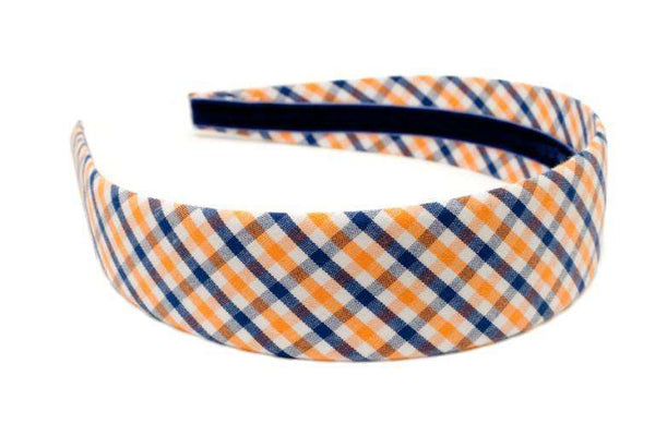 Orange and Navy Tattersall Headband by High Cotton