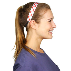 Headbands - Red And Silver Tattersalll Headband By Sweaty Bands - FINAL SALE