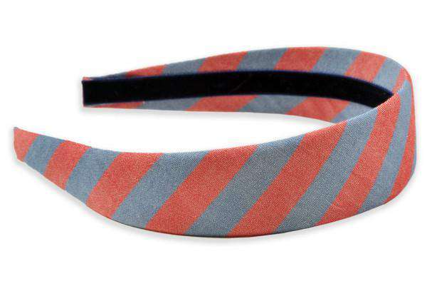Headbands - Red & Washed Blue Oxford Stripe Headband By High Cotton