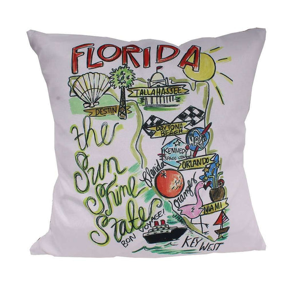 Florida Roadmap Duck Cloth and Burlap Pillow by Southern Roots