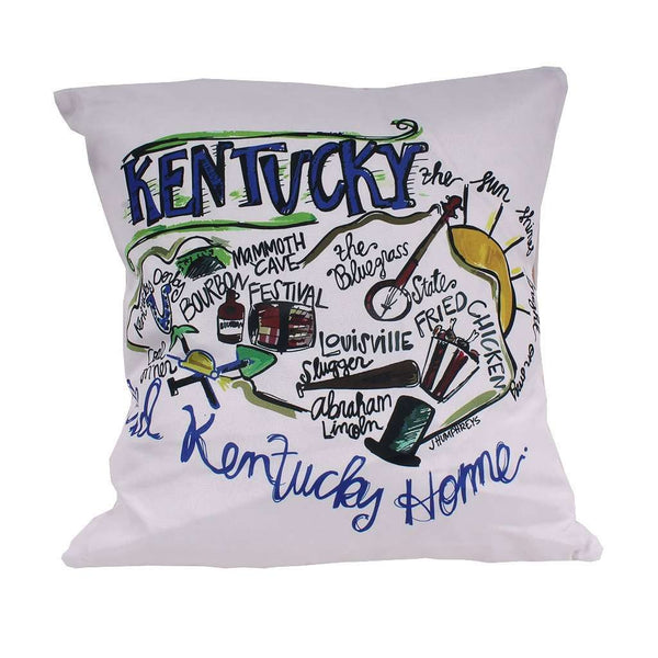 Kentucky Roadmap Duck Cloth and Burlap Pillow by Southern Roots