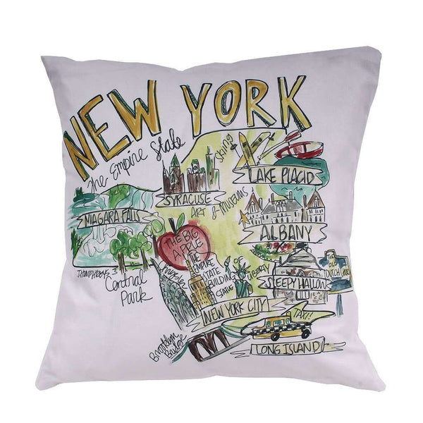 New York Roadmap Duck Cloth and Burlap Pillow by Southern Roots