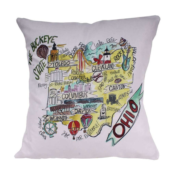 Ohio Roadmap Duck Cloth and Burlap Pillow by Southern Roots