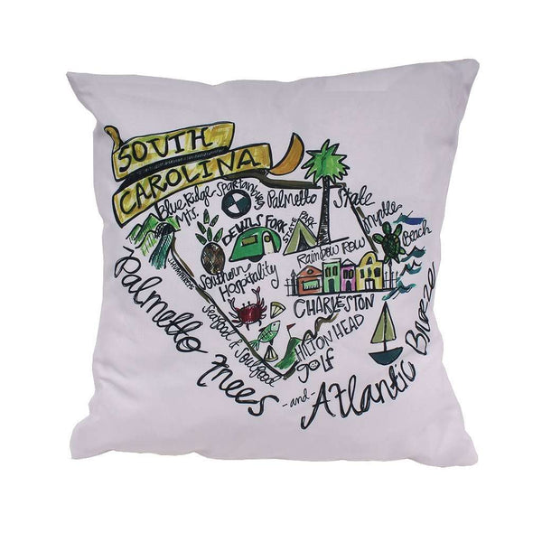 South Carolina Roadmap Duck Cloth and Burlap Pillow by Southern Roots