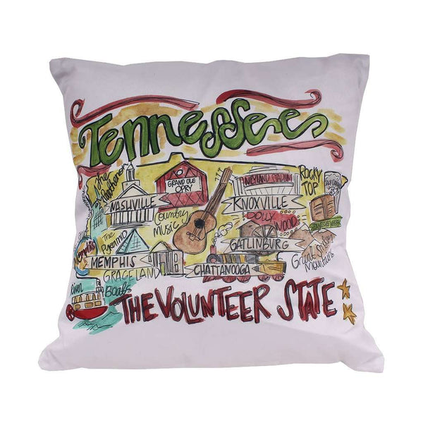 Tennessee Roadmap Duck Cloth and Burlap Pillow by Southern Roots