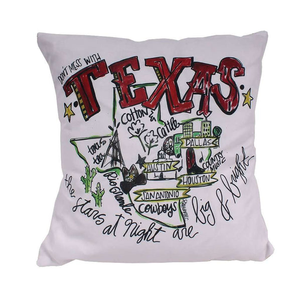Texas Roadmap Duck Cloth and Burlap Pillow by Southern Roots