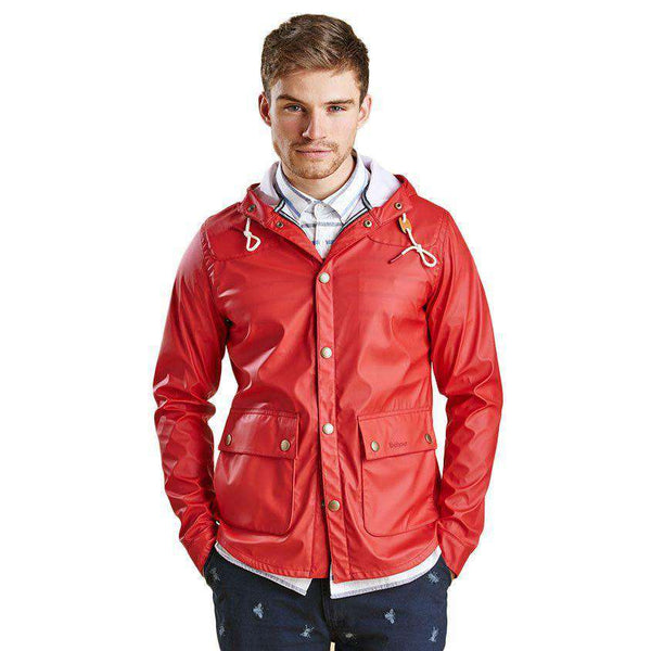 Hooded Slim Reelin Jacket in Red by Barbour  - 1