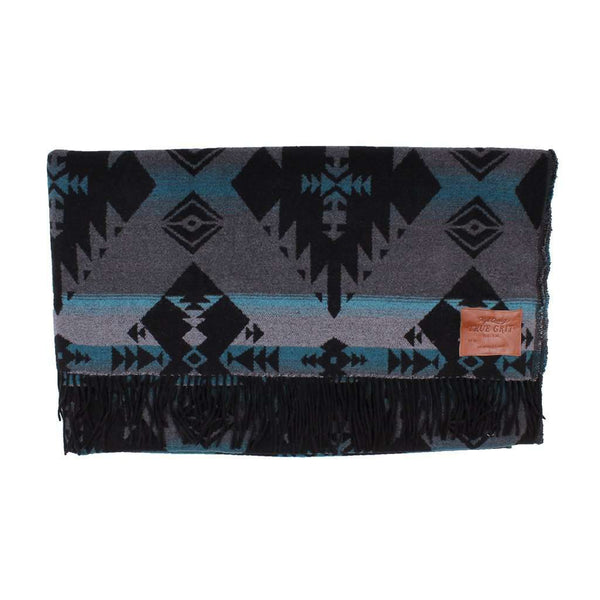 True Grit Icons Fringe Blanket in Grey/Blue