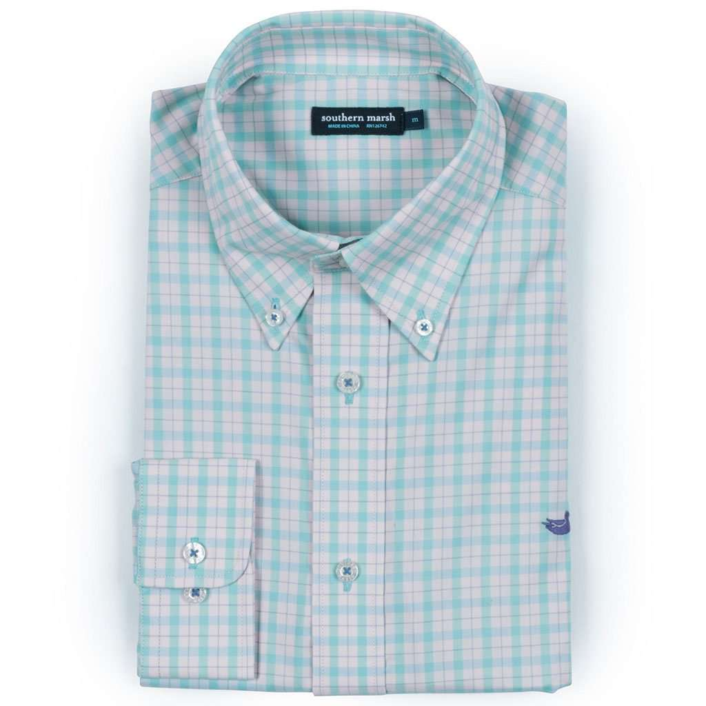 Southern Marsh Idlewild Gingham Performance Button Button Down in Mint & Pink