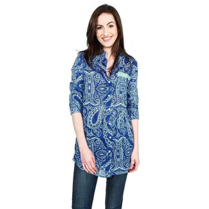 Barbara Beach Cover-Up in Deep Sky Blue Paisley by Hiho - FINAL SALE
