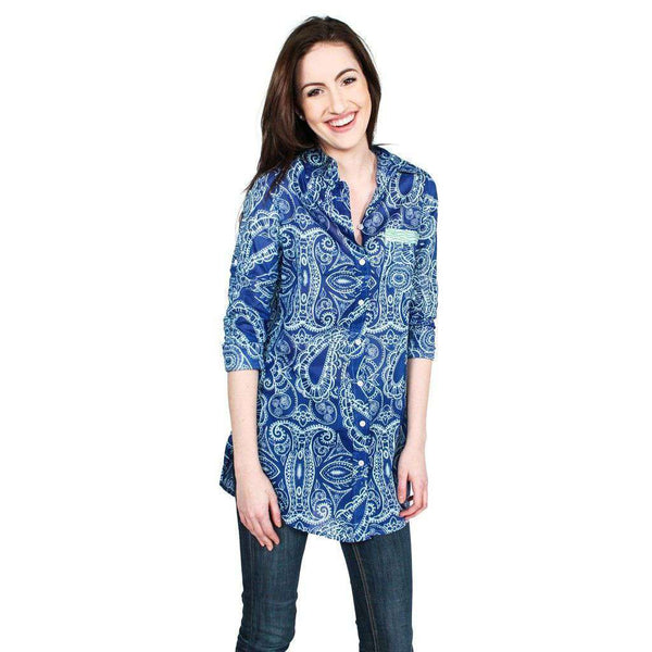 Barbara Beach Cover-Up in Deep Sky Blue Paisley by Hiho  - 1