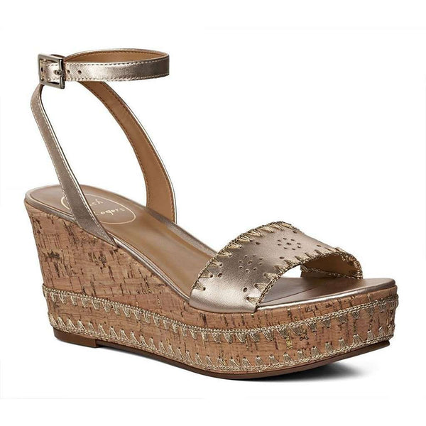 Jack Rogers Lennon Wedge in Platinum