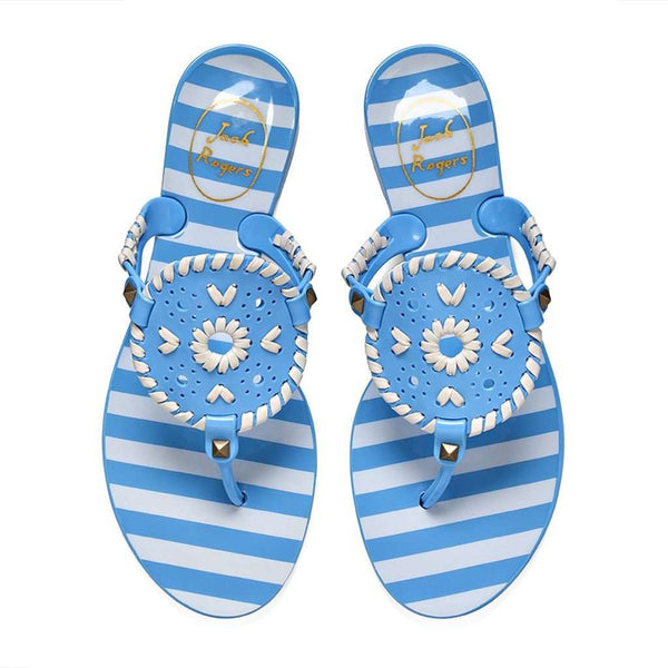 Jack Rogers Striped Georgica Jelly Sandal in French Blue & White by Jack Rogers