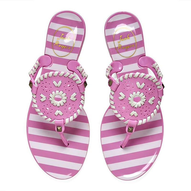 1b867328026f Jack Rogers Striped Georgica Jelly Sandal in Lavender Pink   White ...