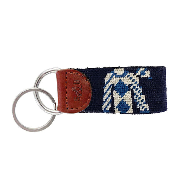 Jockey Silk & Race Horse Needlepoint Key Fob by Smathers & Branson