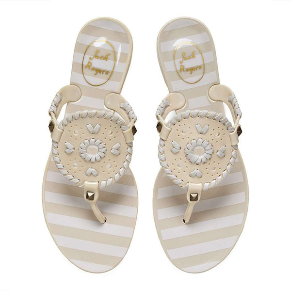 Jack Rogers Striped Georgica Jelly Sandal in Bone & White by Jack Rogers