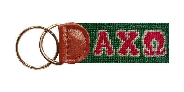 Key Fobs - Alpha Chi Omega Needlepoint Key Fob In Green By Smathers & Branson
