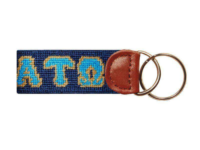 Key Fobs - Alpha Tau Omega Needlepoint Key Fob In Navy By Smathers & Branson